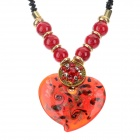 PS002 Fashion Heart Shaped Azure Stone Pendant Necklace - Red + Black