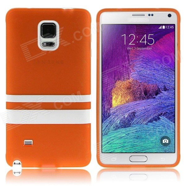 Hat-Prince Protective TPU Soft Case for Samsung Galaxy Note 4 N9100 - Orange + White enkay quick sand style protective plastic back case for samsung galaxy note 4 n9100 blown