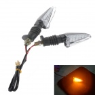 2W 112lm 15-LED Yellow Light Turn Signal / Brake Light for Motorcycle - Black (2 PCS)