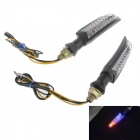 2W 112lm 12-LEDs Blue Light Turn Signal / Brake Lamp for Motorcycle - Black (2 PCS)