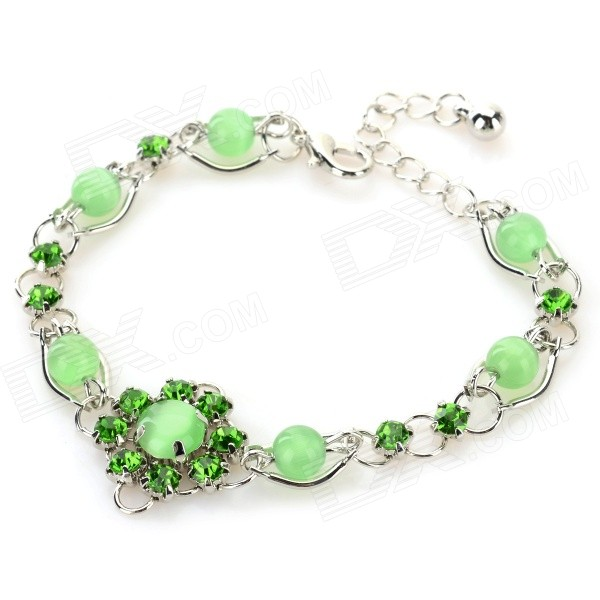 MYS001 Women's Fashion Opal Ornament Bracelet - Green + Silver все цены