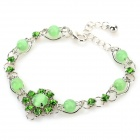 MYS001 Women's Fashion Opal Ornament Bracelet - Green + Silver
