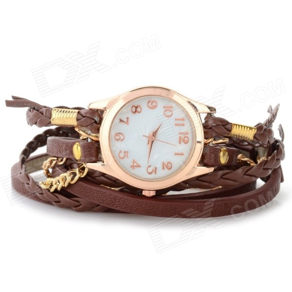 Women's Fashion PU Band Analog Quartz Knitted Bracelet Watch - Coffee + Golden (1 x 377)