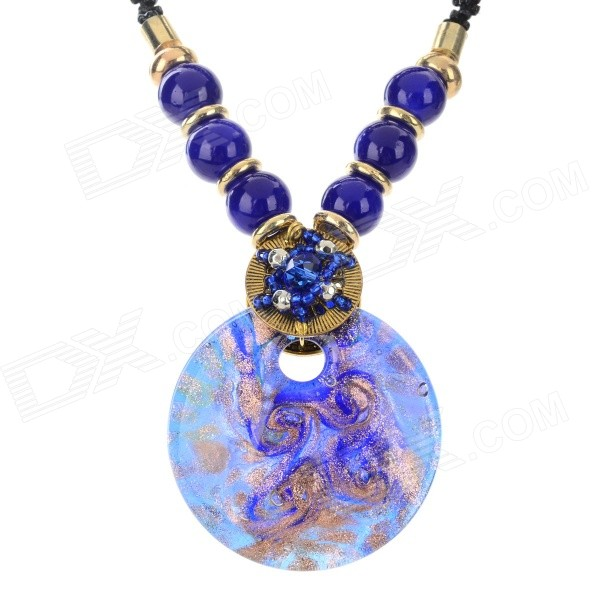 PS003 Fashion Round Azure Stone Pendant Necklace - Deep Blue + Black