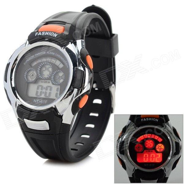 Silicone Band Digital LED Sport Wrist Watch w/ Backlight - Black + Silver + Multi-Color (1 x SR621)