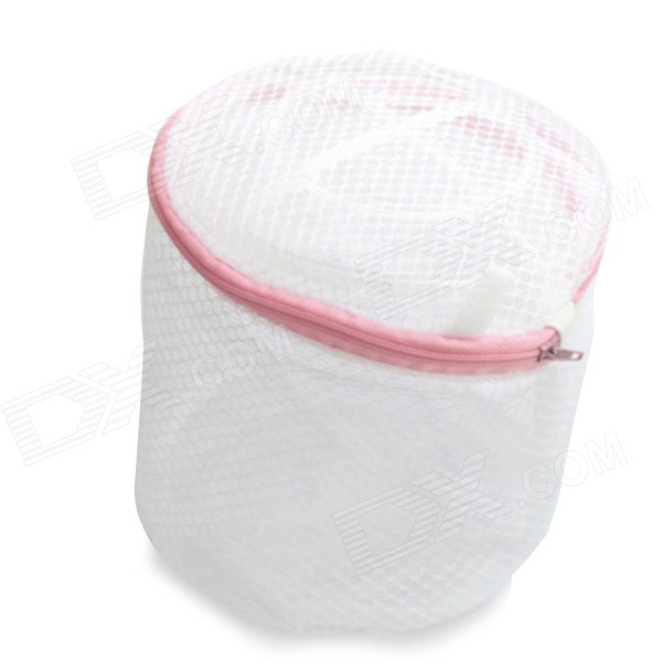 Stylish Folding Nylon Underwear Clothes Zipper Washing Bags - White (2 PCS)
