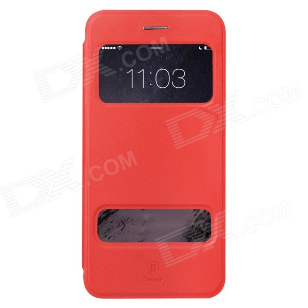 Baseus Pureview Series Flip-open PC + PU Leather Case w/ Window / Stand for IPHONE 6 PLUS - Red корпус corsair obsidian series 350d window cc 9011029 ww