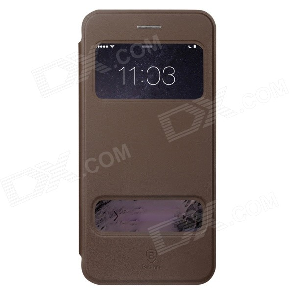 Baseus Pureview Series Flip-open PC + PU Leather Case w/ Window / Stand for IPHONE 6 PLUS - Brown корпус corsair obsidian series 350d window cc 9011029 ww