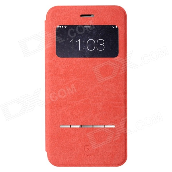 Baseus Flip Open PU + PC Case w/ Stand / Display Window for IPHONE 6 PLUS - Watermelon Red mo mat ultrathin flip open pc case w display window for iphone 6 plus 5 5 blue