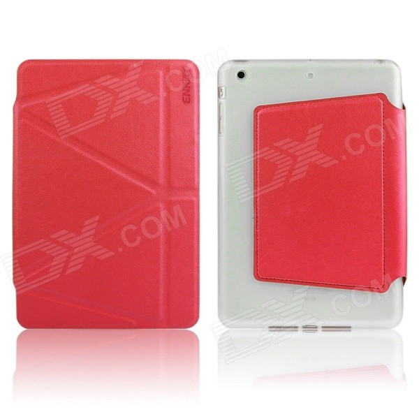ENKAY Auto Sleep & Wake-up Designed Protective PU + TPU Case w/ Stand for IPAD MINI 1 / 2 - Red enkay jellyfish pattern protective pu leather smart case w stand for ipad air ipad 5 multicolor