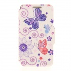 "Kinston Purple Butterfly Pattern PU Leather Case for IPHONE 6 4.7"" - Purple + Red"