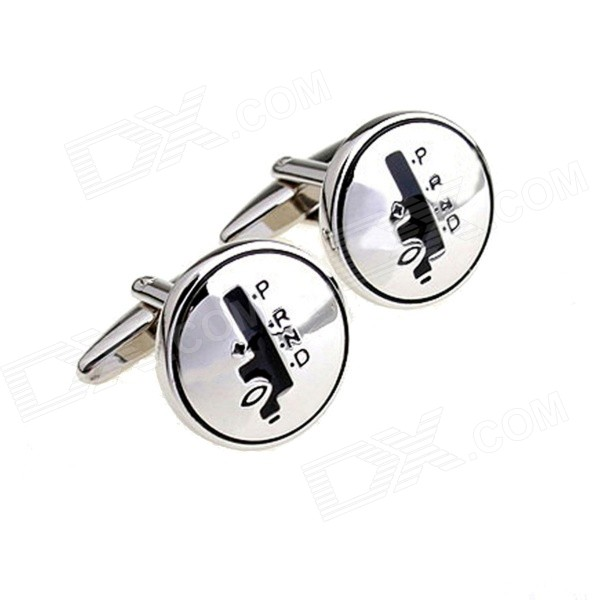 Car Automatic Transmission Design Electroplating Cuff Links / Buttons - Silver + Black (Pair)
