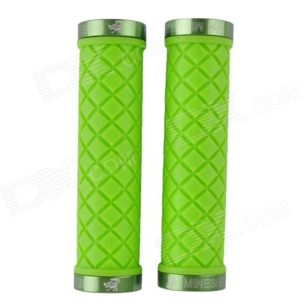 BT02 Bike Bicycle Lock-on Rubber Handlebar Grips - Green (2 PCS) bicycle mtb bike lock on rubber handlebar hand stitched grips white black pair