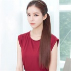 Straight Silky Fiber Hair Ponytail Extension Clip Wig - Light Brown