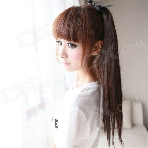 Straight Silky Fiber Hair Ponytail Extension Clip Wig - Dark Brown