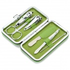 6-in-1 Portable PU + Carbon Steel Beauty Nail Care Tools Set - Green + Silver