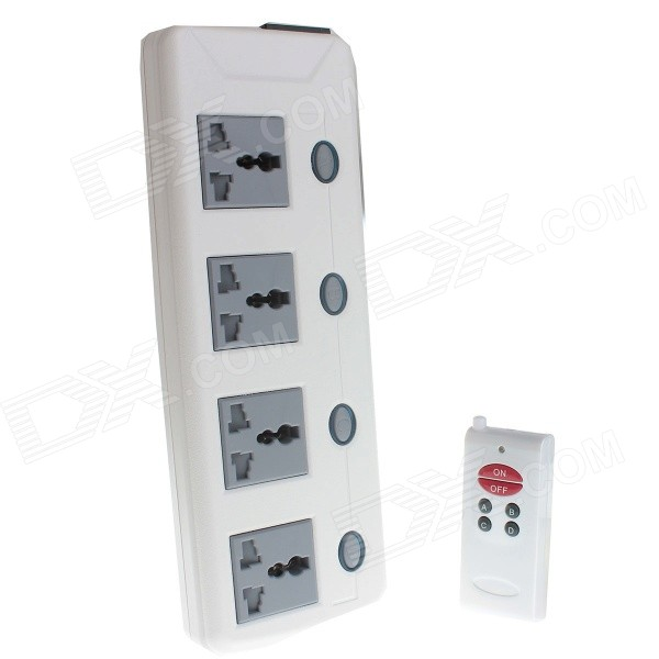 2200W 4-Outlet Remote Control AC Power Socket Bar Strip w/ Individual Switch (86-265V / AU Plug)