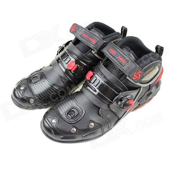 PRO-BIKER A-9005 Motorcycle Fall Proof Wear-Resisting Off-Road Racing Shoes Boots - Black (Size 42)