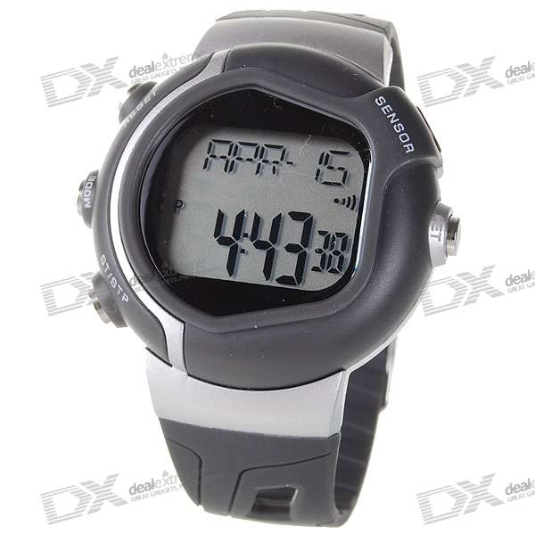 Digital Pulse Rate Calories Counter Timer Watch with Alarm - Grey+Silver (1*CR2025)