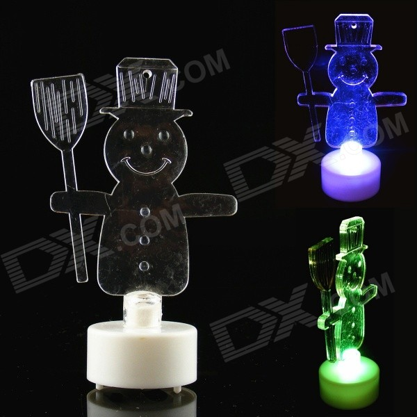 PZCD MY-17 Christmas Snowman Candle Style Mini RGB LED Table Lamp - Transparent + White (3 x AG13) my christmas cd
