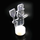 PZCD MY-17 Christmas Snowman Candle Style Mini RGB LED Table Lamp - Transparent + White (3 x AG13)