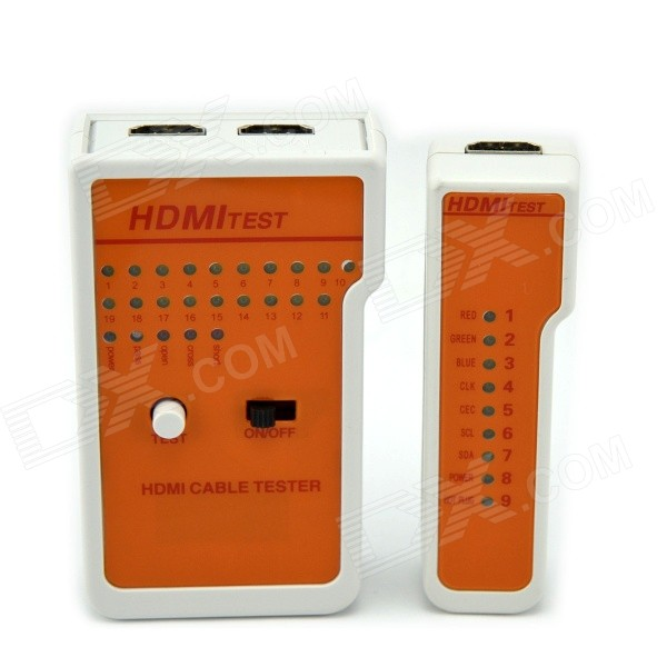 Portable HDMI Cable Tester + Remote Tester Set - White + Orange pro skit taiwan bao mt 7062 hdmi cable measuring tester test