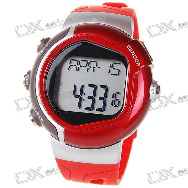 Digital Pulse Rate Calories Counter Timer Watch with Alarm - Red+Silver (1*CR2025)