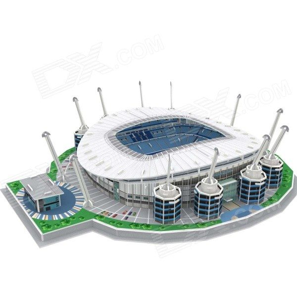 3D Etihad Stadium Football Field Model Puzzle for Children - White + Blue + Multicolor
