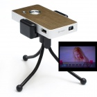 H1000 Mini Projector w/ USB 2.0 + AV IN + HDMI + 8GB TF Card - Gold + Silver