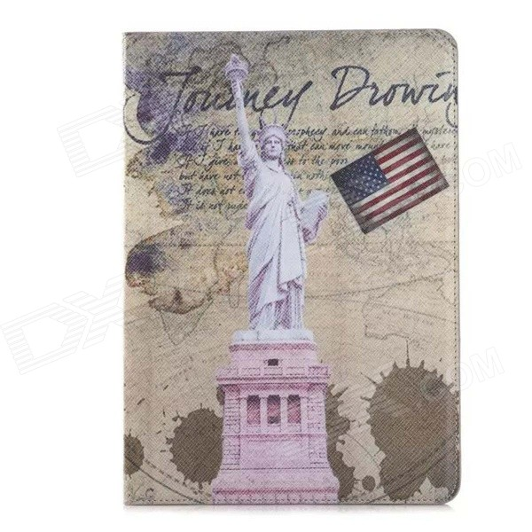 Retro Statue of Liberty Pattern PU Leather Flip Open Case w/ Card Slots / Stand for IPAD AIR 2 statue of liberty pattern protective pu flip open case w strap card slots for samsung galaxy s5
