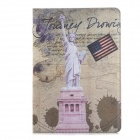 Retro Statue of Liberty Pattern PU Leather Flip Open Case w/ Card Slots / Stand for IPAD AIR 2