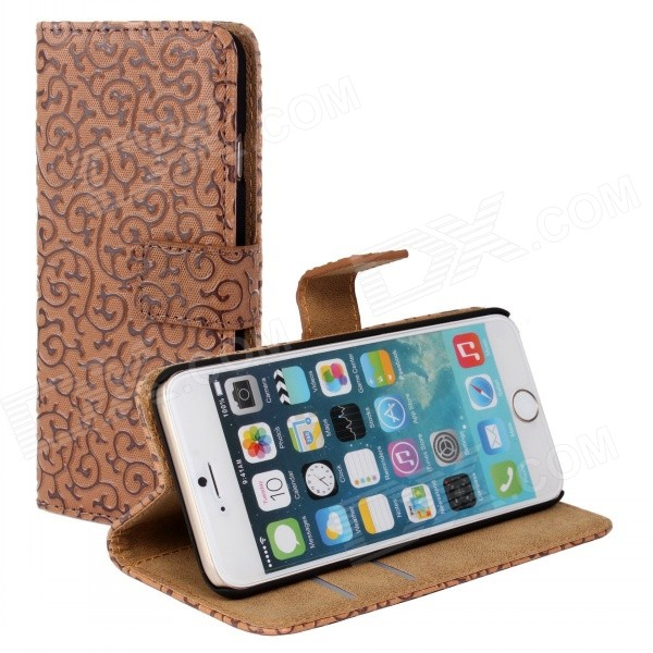 Stylish Protective Flip-Open PU Leather + PC Case w/ Stand for IPHONE 6 PLUS - Brown high quality leather wallet style flip open case w card slots for iphone 6 plus brown