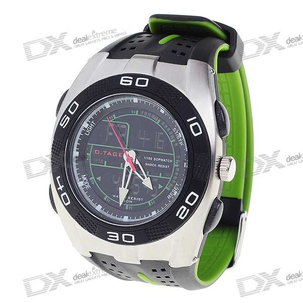 Sporty Water Resistant Dual Time Display Watch with EL Backlight (Green)