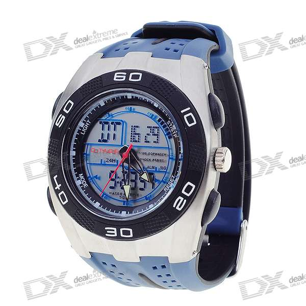 Sporty Water Resistant Dual Time Display Watch with EL Backlight (Blue)