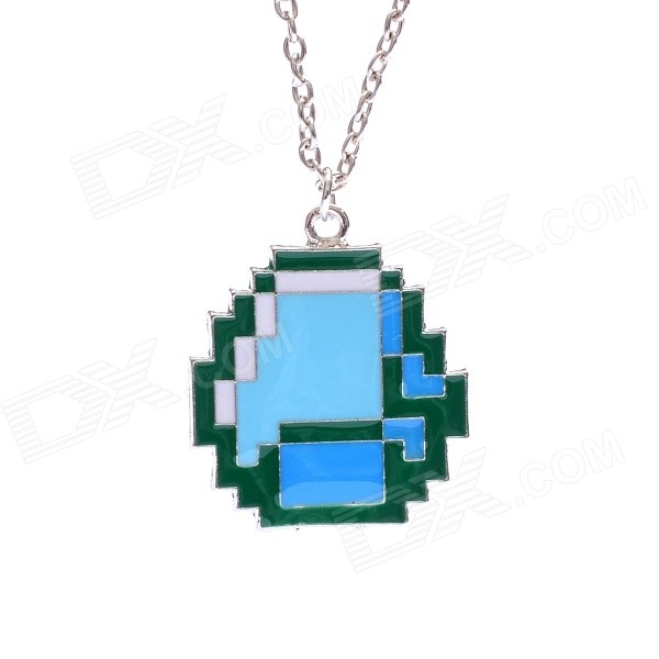 Extraordinary Silver-plated Zinc Alloy Pendant Necklace - Silver + Green