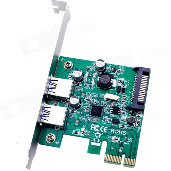 PCI-E Dual-USB 3.0 5Gbps Adapter Expansion Card - Green