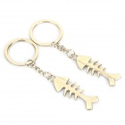 Fishbone Style Zinc Alloy Keychains for Lovers - Silver (Pair)