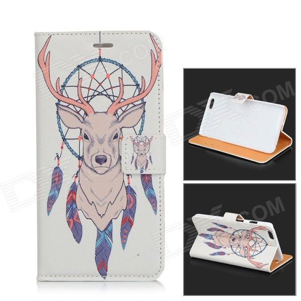 Antelope Pattern Protective Flip Open PU Leather Case w/ Stand / Card Slots for IPHONE 6 PLUS plaid pattern protective pu flip open case w stand card slots for iphone 5 5s white