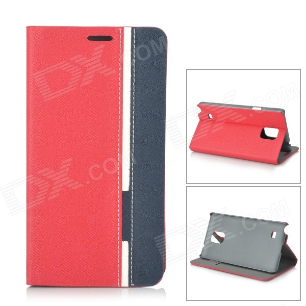 Protective PU Leather + Plastic Case w/ Stand for Samsung Note 4 / N9100 - Red + Blue enkay protective tpu back case cover w stand for samsung galaxy note 4 n9100 green