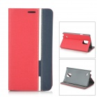 Protective PU Leather + Plastic Case w/ Stand for Samsung Note 4 / N9100 - Red + Blue