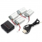 X4-003(VA09) 4 x 3.7V 300mAh Li-polymer Battery + 1-to-4 Balance Charger Set - Black + Silver