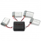 X4-003 4*3.7V 300mAh Li-polymer Battery + Charger Set - Silver
