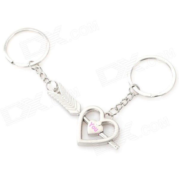 An Arrow Through a Heart Style Zinc Alloy Keychains for Lovers - Silver + Pink (Pair) lovers playing golf zinc alloy keychains silver pair