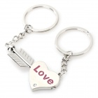 An Arrow Through a Heart Style Lovers' Zinc Alloy Keychains - Silver + Purple (Pair)