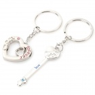 Lovers' Key + Heart Shaped Zinc Alloy Keychains - Silver (Pair)
