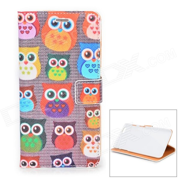 Owl Heads Pattern PU Leather Case with Stand and Card Slot for IPHONE 6 PLUS stand leather case for iphone 6 plus 6s plus 5 5 inch with card slot dark blue