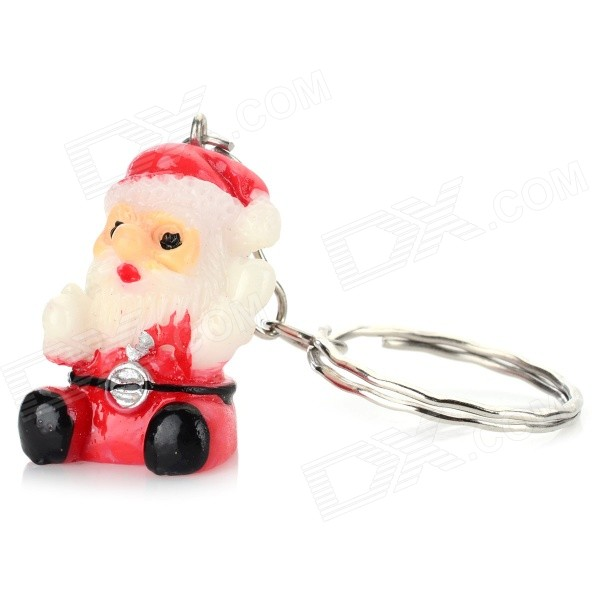 Lovely Christmas Santa Claus Key Ring / Keychain - Red + White my 1st christmas santa claus white top minnie dot petal skirt girls outfit nb 8y