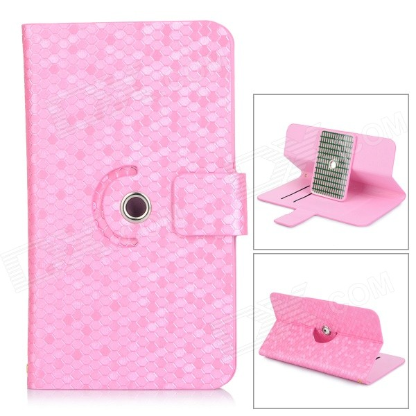 Snakeskin Pattern Flip-open PU Leather Case w/ Stand / Hole for 5.3~5.5 Screen Cellphone - Pink for lifan x60 x50 small hole ventilate wear resistance pu leather front