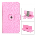 "Snakeskin Pattern Flip-open PU Leather Case w/ Stand / Hole for 5.3~5.5"" Screen Cellphone - Pink"