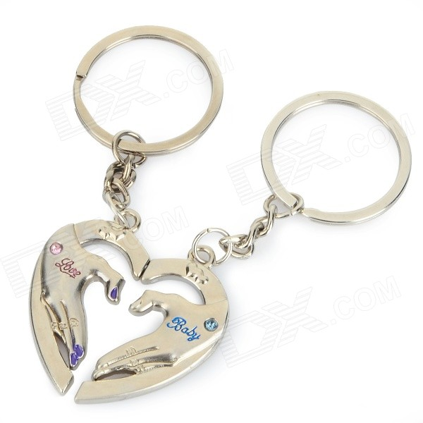 Creative Hands Heart Style Zinc Alloy Keychains for Lovers - Silver (Pair) lovers playing golf zinc alloy keychains silver pair